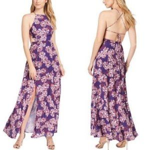 Fame & Partners Backless Dreamer Floral Print Gown
